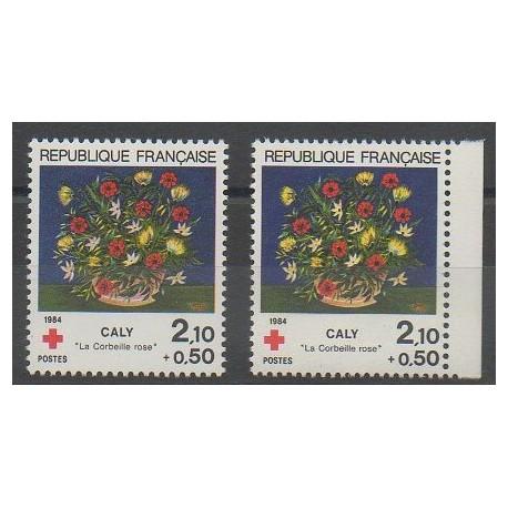 France - Poste - 1984 - No 2345 - 2345a - Fleurs - Santé ou Croix-Rouge