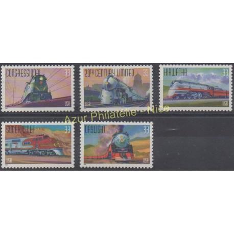 États-Unis - 1999 - No 2926/2930 - Trains