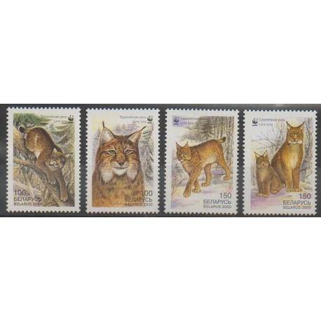 Biélorussie - 2000 - No 346/349 - Mammifères - Espèces menacées - WWF