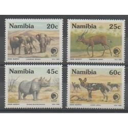 Namibie - 1993 - No 691/694 - Espèces menacées - WWF - Mammifères