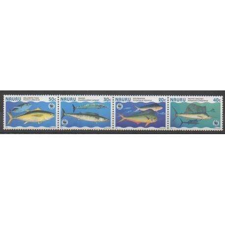 Nauru - 1997 - No 423/426 - Animaux marins - Espèces menacées - WWF