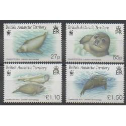Grande-Bretagne - Territoire antarctique - 2009 - No 492/495 - Animaux marins - Mammifères - Espèces menacées - WWF