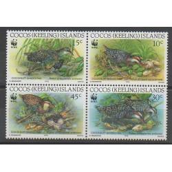 Cocos (Iles) - 1992 - No 251/254 - Oiseaux - Espèces menacées - WWF