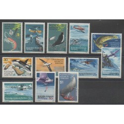 Australie - territoire antarctique - 1973 - No 23/34 - Animaux marins - Mammifères - Aviation