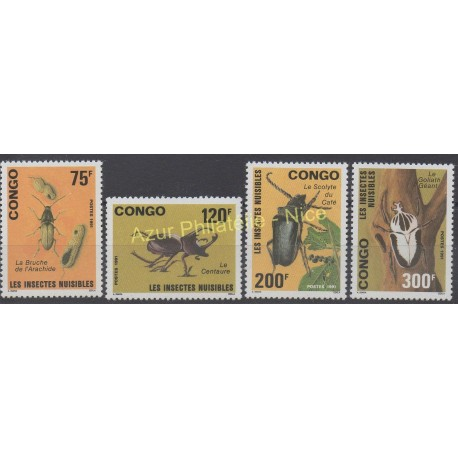 Congo (Republic of) - 1991 - Nb 907/910 - Insects