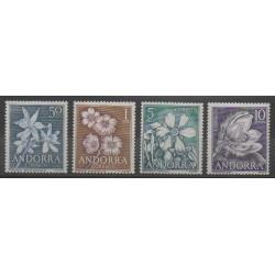 Andorre espagnol - 1966 - No 61/64 - Fleurs