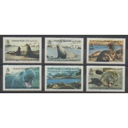 Falkland-Géorgie du Sud et Sandwich du Sud - 1991 - No 208/213 - Mammifères - Animaux marins