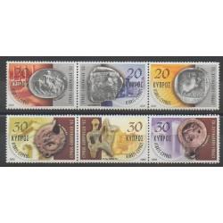 Chypre - 2002 - No 1008/1013 - Monnaies, billets ou médailles
