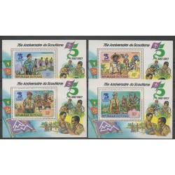 Tchad - 1982 - No 396/399 blocs-feuillets - Scoutisme