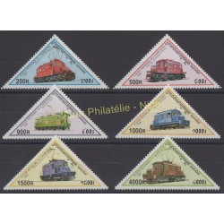Stamps - Theme trains - Cambodia - 1998 - Nb 1509/1514