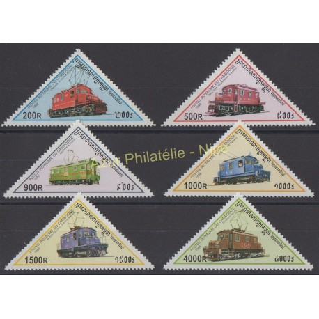 Timbres - Thème trains - Cambodge - 1998 - No 1509/1514
