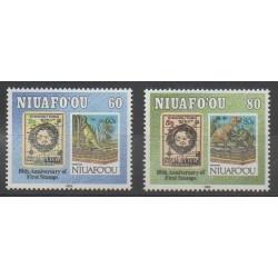 Tonga - Niuafo'ou - 1993 - No 185/186 - Animaux préhistoriques - Timbres sur timbres