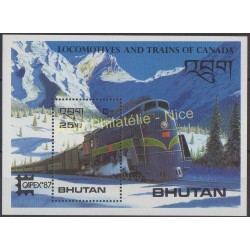Timbres - Thème trains - Bhoutan - 1987 - No BF 131