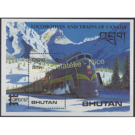 Stamps - Theme trains - Bhutan - 1987 - Nb BF 131