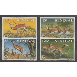 Senegal - 1986 - Nb 661/664 - Mamals - Endangered species - WWF