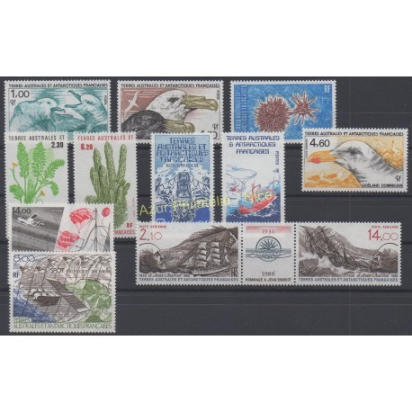 Stamps - French Southern and Antarctic Territories - Complete year - 1986 - Nb 115/121 et PA92/PA96