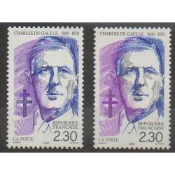 France - Poste - 1990 - No 2634/2634a - De Gaulle
