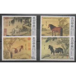 Corée du Nord - 2002 - No 3135/3138 - Chevaux
