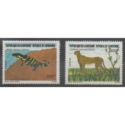 Cameroun - 1986 - No 797/798 - Reptiles - Mammifères - Espèces menacées - WWF