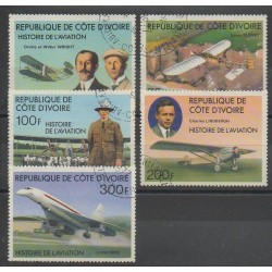 Côte d'Ivoire - 1977 - No 424/428 - Aviation - Oblitéré