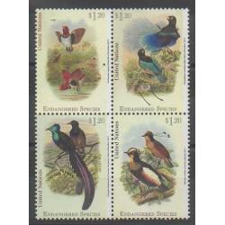 Nations Unies (ONU - New-York) - 2015 - No 1436/1439 - Oiseaux - Espèces menacées - WWF