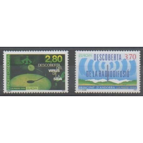 Andorre - 1994 - No 444/445 - Santé ou Croix-Rouge - Télécommunications - Europa