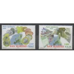 Saint-Marin - 2001 - No 1773/1774 - Monnaies, billets ou médailles