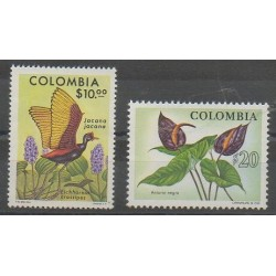 Colombia - 1977 - Nb 709/710 - Birds - Flowers