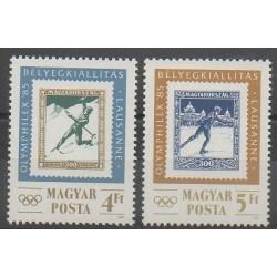 Hongrie - 1985 - No 2968/2969 - Timbres sur timbres - Exposition - Jeux olympiques d'hiver