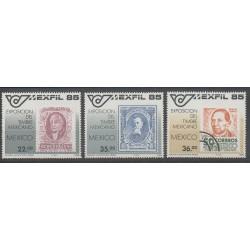 Mexique - 1985 - No 1103/1105 - Timbres sur timbres - Exposition - Philatélie