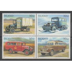 Islande - 1992 - No 723/726 - Service postal - Voitures