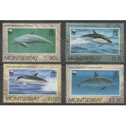 Montserrat - 1990 - No 743/746 - Mammifères - Animaux marins - Espèces menacées - WWF
