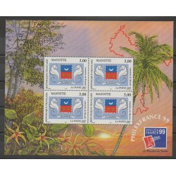 Mayotte - Block and sheet - 1999 - Nb BF1 - Coats of arms - Exhibition