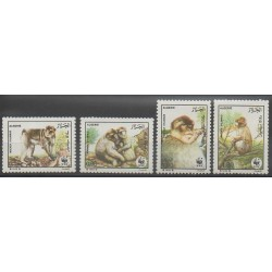 Algeria - 1988 - Nb 928/931 - Mamals - Endangered species - WWF