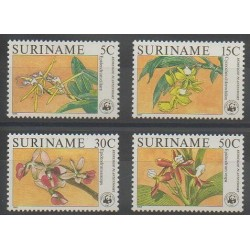 Suriname - 1986 - Nb 1034/1037 - Orchids - Endangered species - WWF