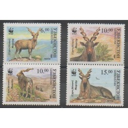 Uzbekistan - 1995 - Nb 61AA/61AD - Mamals - Endangered species - WWF