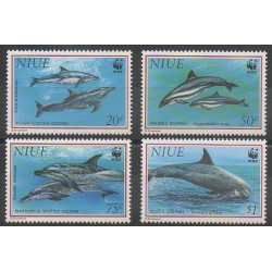 Niue - 1993 - No 614/617 - Mammifères - Animaux marins - Espèces menacées - WWF