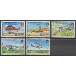 Aurigny (Alderney) - 1985 - Nb 18/22 - Helicopters - Planes
