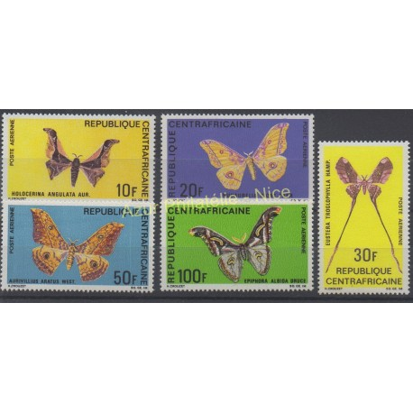 Central African Republic - 1969 - Nb PA 69/73 - Butterflies