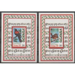 Ouganda - 1998 - No BF292/BF293 - Oiseaux - Noël - Musique