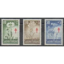 Finlande - 1959 - No 486/488 - Fleurs - Santé ou Croix-Rouge