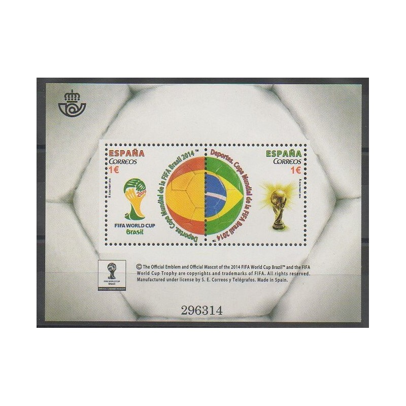Timbres espagne 2014 no f4596 coupe du monde de football - Coupe du monde espagne 2014 ...