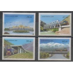 Kirghizistan - 2009 - No 494/497 - Ponts - Chemins de fer