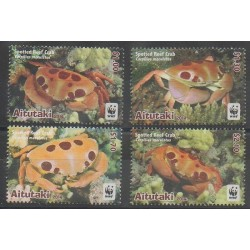 Aitutaki - 2014 - No 683/686 - Animaux marins - Espèces menacées - WWF