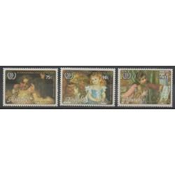 Aitutaki - 1985 - No 428/430 - Enfance - Peinture