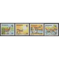 Botswana - 1988 - Nb 579/582 - Mamals - Endangered species - WWF