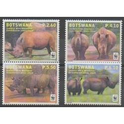 Botswana - 2011 - No 1081/1084 - Mammifères - Espèces menacées - WWF