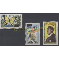 Central African Republic - 1965 - Nb 61/63 - Celebrities - Butterflies