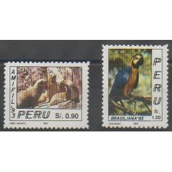 Pérou - 1993 - No 997/998 - Philatélie - Oiseaux - Mammifères