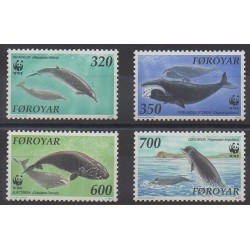 Faroe (Islands) - 1990 - Nb 197/200 - Mamals - Sea animals - Endangered species - WWF